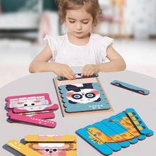 Puzzle en bois Animal 3D Puzzles de bande Double face pour enfants Montessori jouets éducatifs en bois raconter l'histoire Puzzle en bois