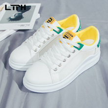 2020 summer high quality New sale wild white shoes for women Mesh thick bottom round head Casual Mixed Colors Lace-Up sneakers europe america new mesh breathable sneakers women s solid color round head shallow mouth casual thick bottom laceup single shoes