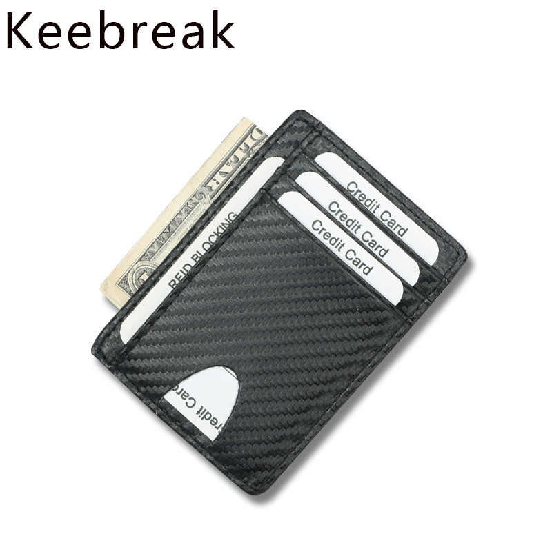 Carbon Fiber Credit Card Holder Wallet Minimalist Slim Thin Men Women Bank ID Cardholder Case Pocket Mini Small Money Purse Rfid