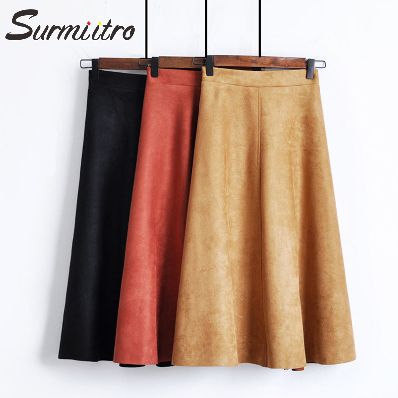 Surmiitro Warm Suede Velvet Midi Skirt Women For Autumn Winter 2019 Ladies Korean High Waist Red Yellow Blue A Line Skirt Female