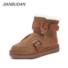 Fur Boots Reflective-Shoes Cow-Suede Winter Women's Plush JIANBUDAN Non-Slip Warm Cotton