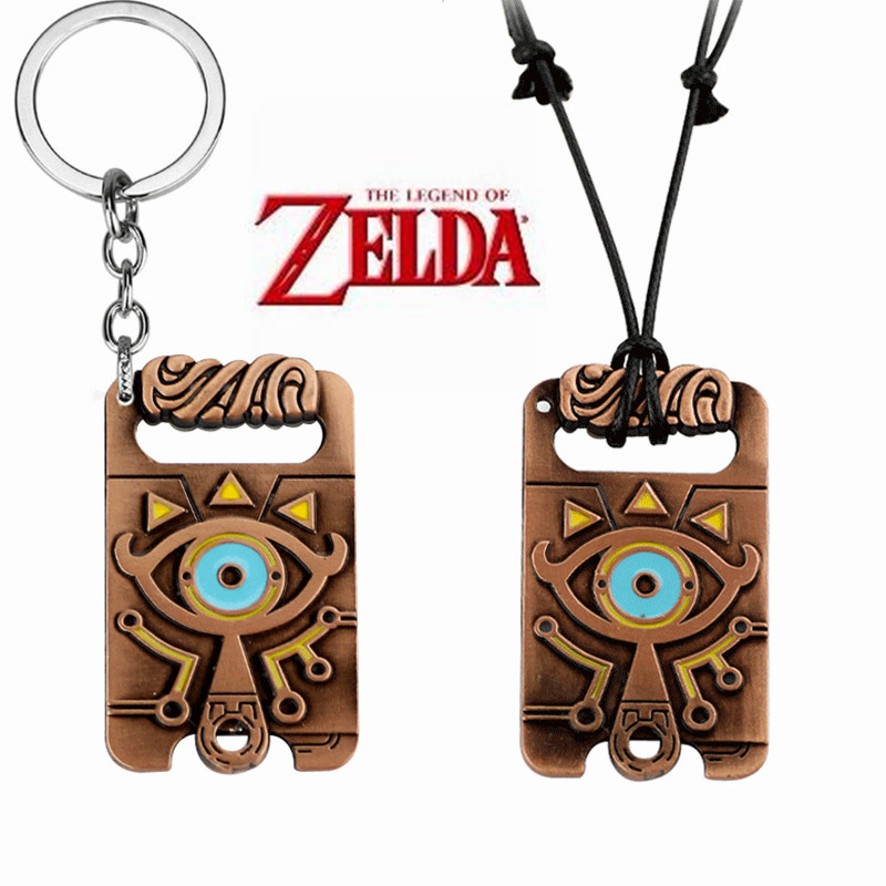 Game The <font><b>Legend</b></font> <font><b>of</b></font> <font><b>Zelda</b></font>:Breath <font><b>of</b></font> the Wild Cosplay Accessories Vintage Totem Pendant Metal Necklace Keychain Jewelry Key <font><b>Ring</b></font> image