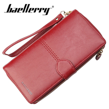 Baellerry Wallet Zipper Hasp Clip Women Long PU Leather Solid Porta Handbag Coin Pocket Note Compartment Female