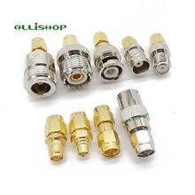 9 adet/takım SMA erkek MCX/SMB/UHF/TV/BNC/N/F dişi RF adaptör düz SMA adaptör kitleri nikel altın kaplama testi dönüştürücü