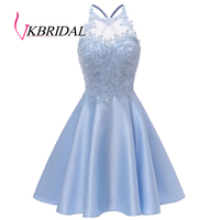 VKbridal A line Satin Short Prom Graduation Party Gowns with Pockets Mini Length Cross Back Crystal Lace Homecoming Dresses 2019