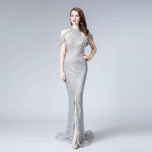 Silver Sexy Mermaid Evening Dresses Sleeveless Beading Illusion Luxury Gowns 2019 Romantic Prom Dress