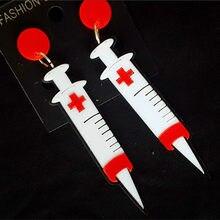 Exagerado branco seringa agulhas acrílico balançar brincos para mulheres punk longo gota brinco acessórios moda jóias por atacado