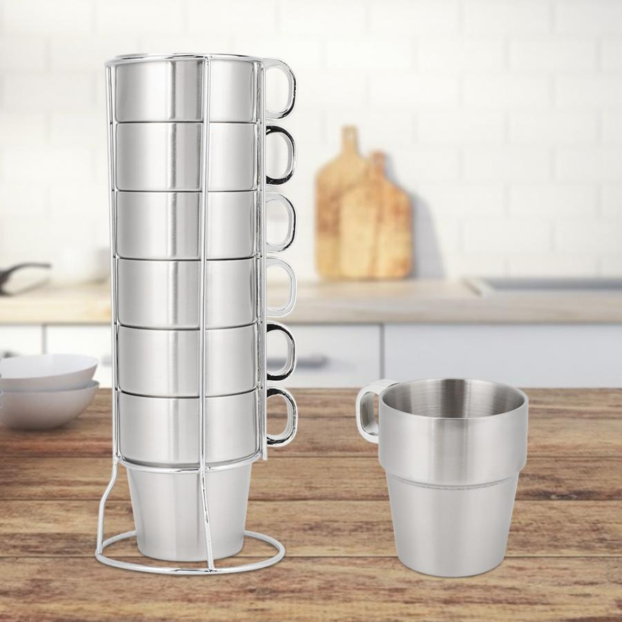 Reusable Double Layer Anti-Scald Stainless Steel Stackable Water Coffee Cup Set with Cup Holder Stand Reusable Coffee Cup