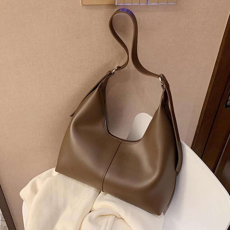 с доставкой PU Leather Half Moon Bags Women 2021 Small Shoulder Simple Bag Lady Fashion Handbags Luxury Branded Crossbody Bag