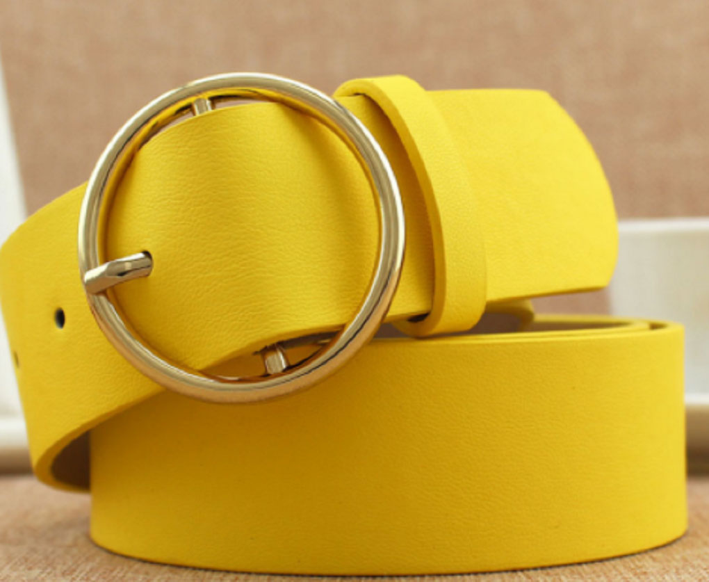 5 Colors Adult Belts Solid Fashion Vintage Yellow Metal Belt For Women Lady Strap Female Pin Buckle Fashion Embossing Belts