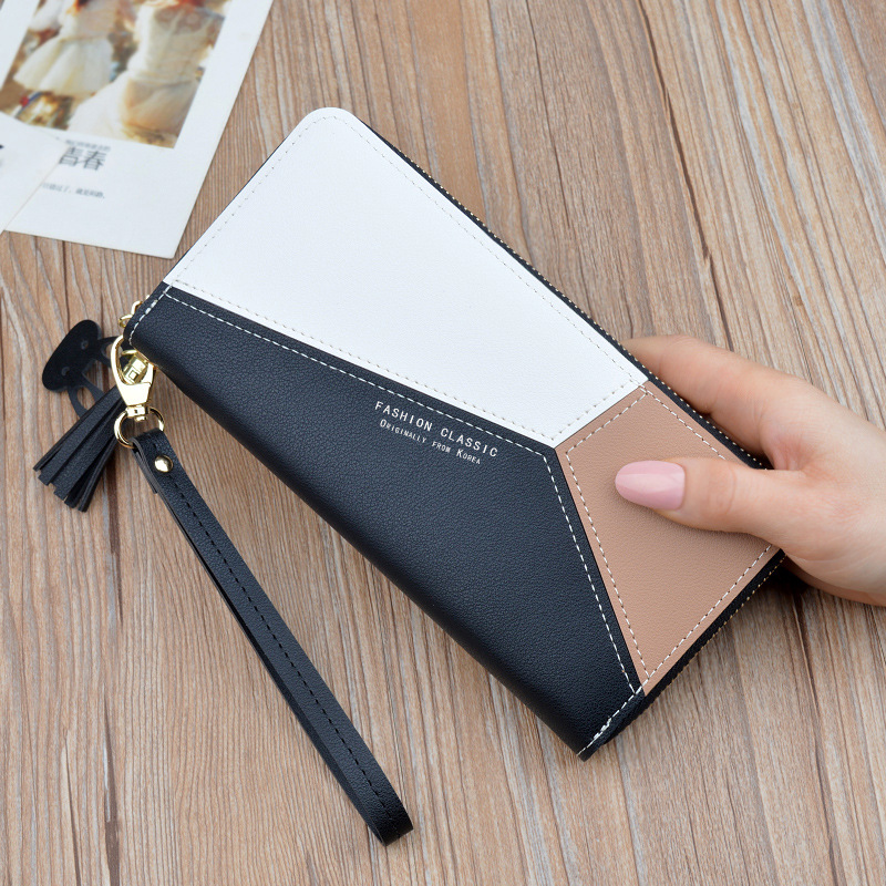 Pink WOMEN'S Clutch Wallet Women's Long Korean-style Contrasting Color Panel Zip Tassled Large-Volume Wallet Mobile Phone