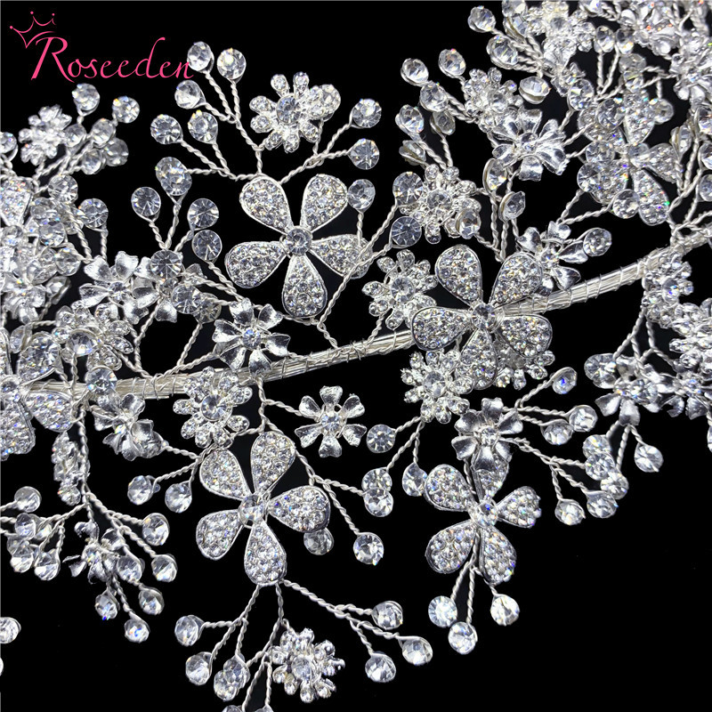 Image 4 - Elegant Bride Crystal Headbands Silver Rhinestone Tiara Hairbands