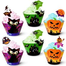 METABLE 48 pack Halloween Cupcake Decorations Liner Muffin Cases Pumpkin Spider Ghost Party Supplies Favor