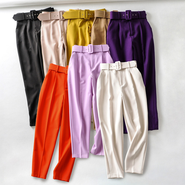 New color Wine red Womens suit Pants Trousers high waist causal belt Pants Trousers zoravicky Womens office lady purple Capris