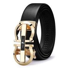 Роскошный брендовый дизайнерский кожаный мужской ремень из натуральной кожи с автоматической пряжкой, Золотой ремень