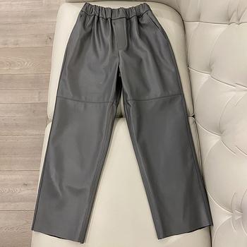Oryginalne skórzane spodnie haremowe damskie prawdziwe kożuchy spodnie wysokiej talii plus size damskie spodnie 2020 nowe z elastyczną gumką w pasie w stylu streetwear tanie i dobre opinie Prawdziwej skóry Pełnej długości CN (pochodzenie) Zima ML19367 Stałe Na co dzień Harem spodnie Mieszkanie Luźne Osób w wieku 18-35 lat