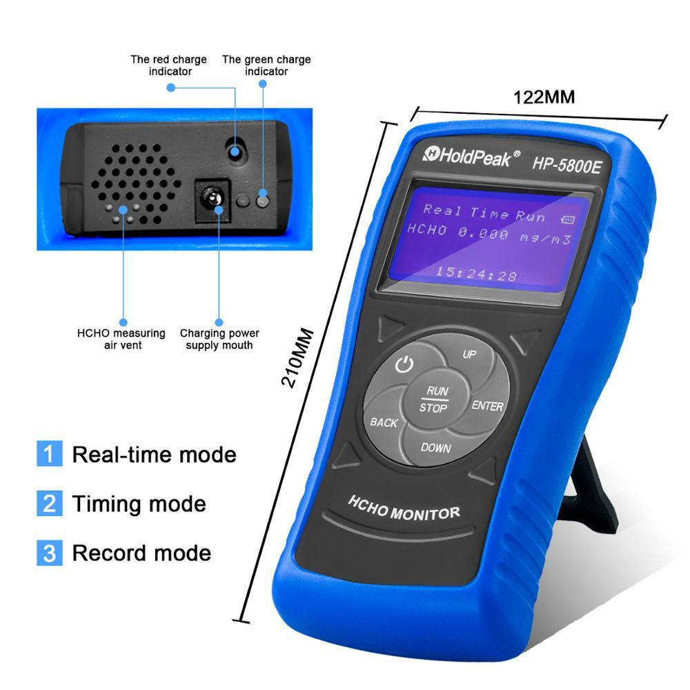 Detector de Monitor de formaldehído Holdpeak 5800E con luz de fondo y apagado automático para pruebas medioambientales en interiores y exteriores - 3