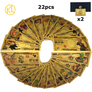 1 pc Japan 10000 Yen Bill Gold Foil Banknote Qute dragon ball Sun Wukong Vegeta IV Gold Plated Banknote Collection Gifts(China)