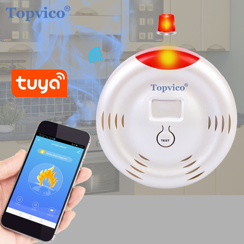 Topvico WIFI Smoke Detector Detecting Fire Smoke Sensor Alarm Tuya Smart Life APP Wireless Smart Home House Security System