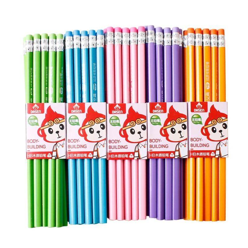 100 шт Классический Новый Одноцветный бревенчатый карандаш с резиновым креплением HB пишущий карандаш для обучения рисованию канцелярские товарыПростые карандаши    АлиЭкспресс