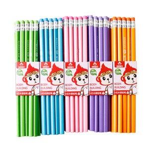 Image 1 - 100 шт Классический Новый Одноцветный бревенчатый карандаш с резиновым креплением HB пишущий карандаш для обучения рисованию канцелярские товары