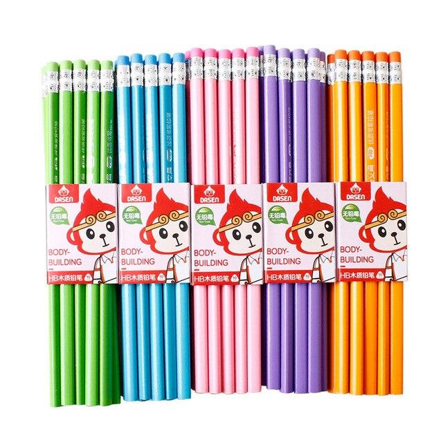 100 шт Классический Новый Одноцветный бревенчатый карандаш с резиновым креплением HB пишущий карандаш для обучения рисованию канцелярские товары
