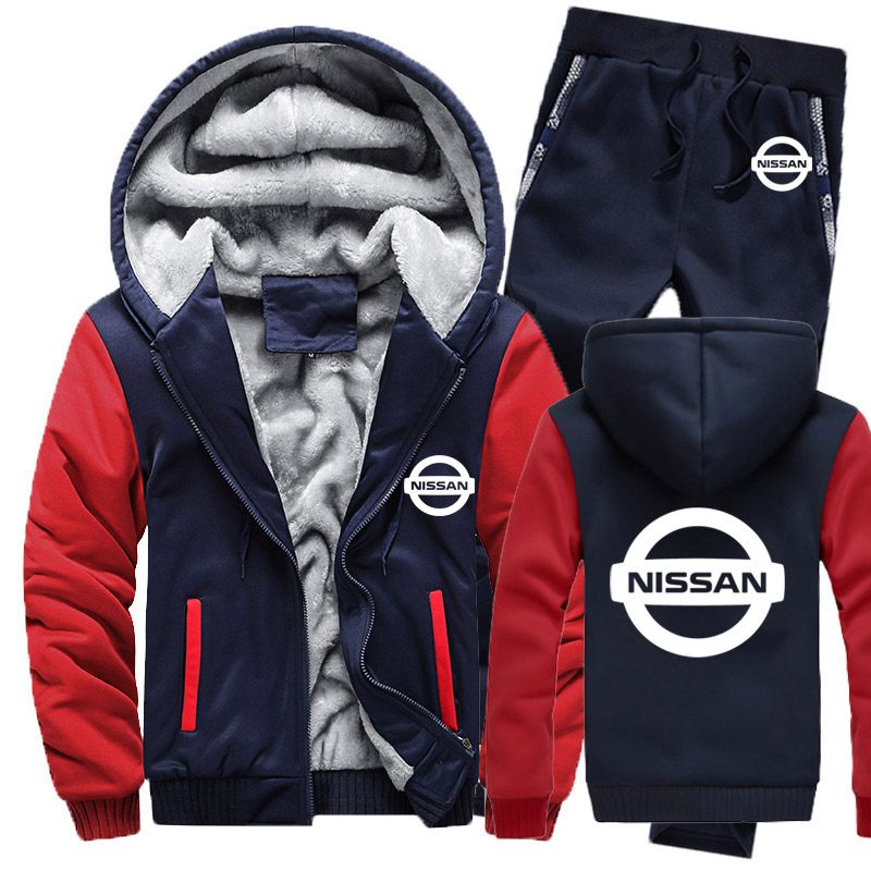 Hoodies Men Nissan Car Logo Mens Hoodies Suit Winter Thicken Warm Fleece Cotton Zipper Tracksuit Mens Jacket+Pants 2Pcs Sets