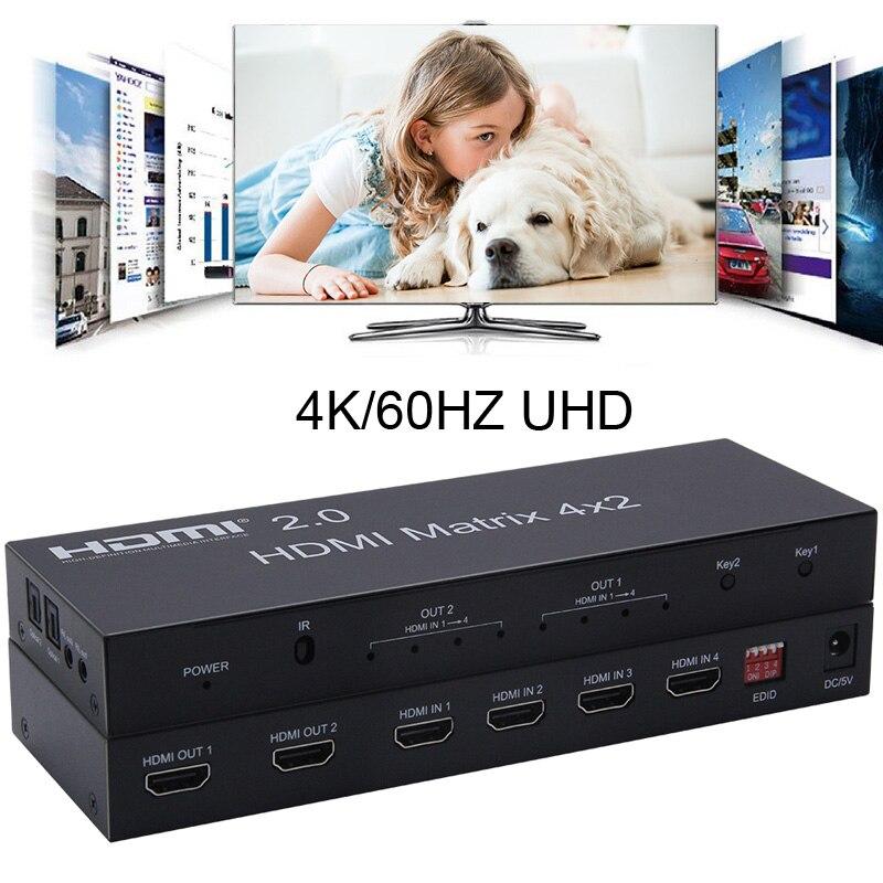 4K 60Hz 2,0 HDMI матричный 4x2 HDR переключатель разветвитель 4 в 2 из YUV 4:4:4 оптический SPDIF 3,5 мм разъем аудио экстрактор EDID HDMI коммутатор