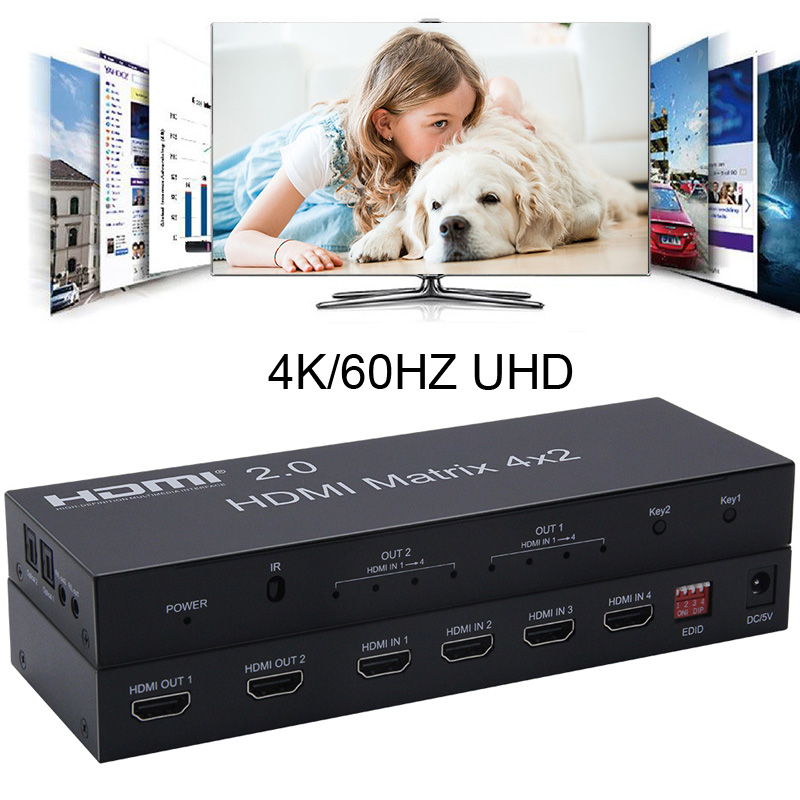 4K 60Hz 2.0 HDMI Matrix 4x2 HDR Switch Splitter 4 In 2 Out YUV 4:4:4 <font><b>Optical</b></font> SPDIF <font><b>3.5mm</b></font> <font><b>Jack</b></font> <font><b>Audio</b></font> Extractor EDID HDMI Switcher image