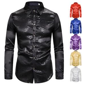 Image 5 - זהב נצנצים נצנצים חולצות גברים 2019 אופנה חדשה מועדון לילה משי סאטן Camisa Masculina Slim Fit שלב דיסקו תחתונית זינגר homme