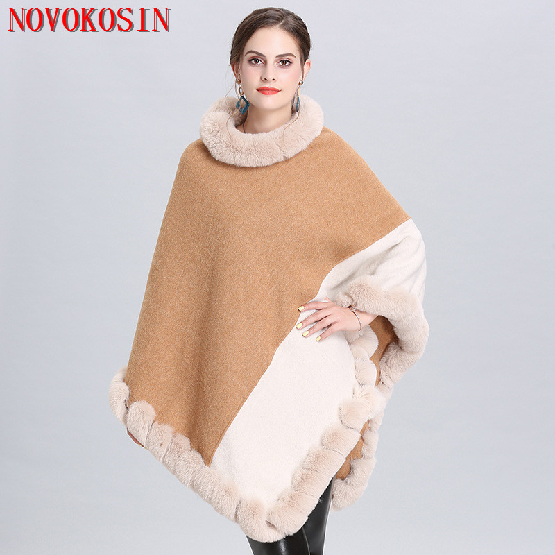 SC334 2019 Winter Cloak Women Long Triangle Faux Fox Fur Plus Size 2 Color Patchwork Sweater Knitted Poncho Cape Loose Pullover