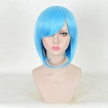 цена на Ktip Up EVA Ayanami Rei Wigs Short Light Blue Heat Resistant Synthetic Hair Perucas Cosplay Wig + Wig Cap