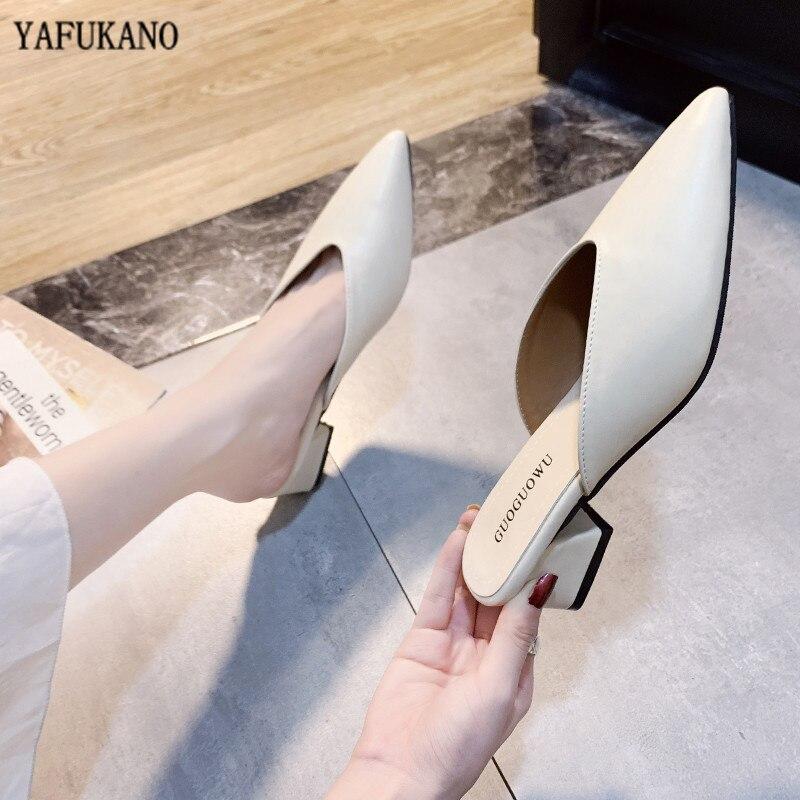 Summer Women Slipper 2020 Women Pointed Toe Slipper Fashion Square Heels Outsides Ladies Slides Beach Mules Shoes
