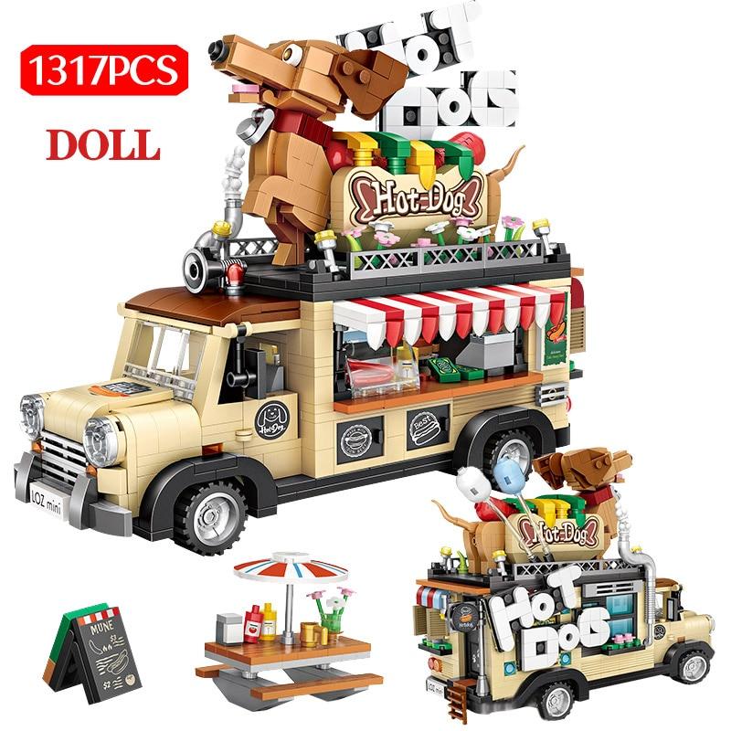 1317pcs City Hot Dog Cart Car Figurine Model Building Blocks Mini Granules Vehicle DIY Education Mini Bricks Toys For Kids Gifts