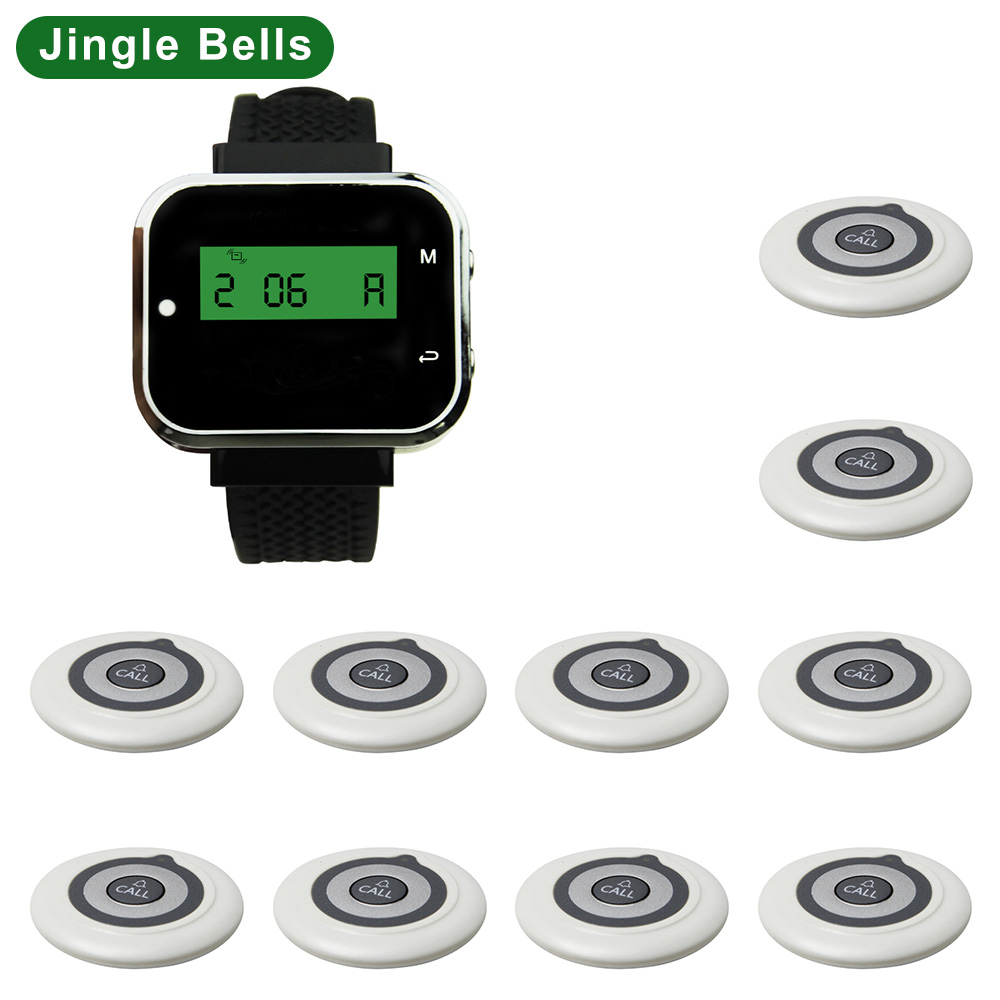 JINGLE BELLS wireless restaurant calling systems 10 transmitters+1 watch pager/guest waiter calling buttons customer call system
