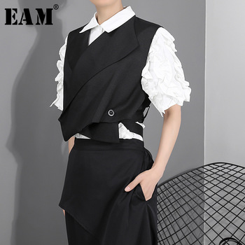[EAM] Women Loose Fit Black Cross Split Joint Temperament Vest New Lapel Sleeveless Fashion Tide Spring Autumn 2021 WD812 1