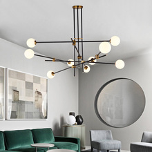 Rose Gold and Black Wrought iron Chandelier Dining room Lounge Kitchen island chandelier sputnik suspension lamp