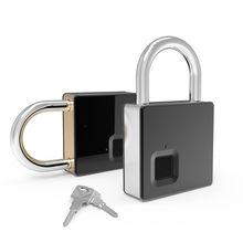 Fipilock-cerradura inteligente sin llave, con huella dactilar, IP65, impermeable, antirrobo, candado de seguridad, para puerta, funda de equipaje, cerradura con llave y Cable