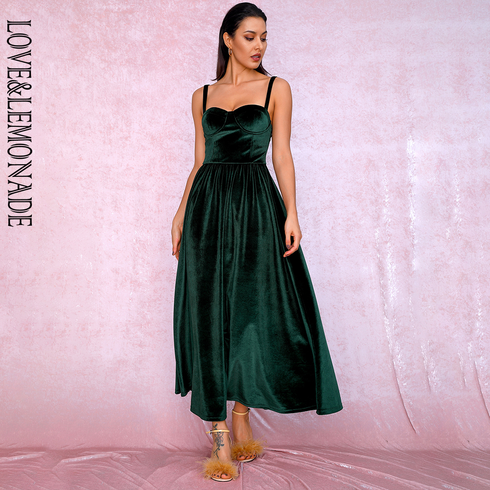 LOVE&LEMONADE Sexy Emerald Green Tube Top A-type Puff Velvet Over The Knee Party Dress LM81705 Autumn/winter