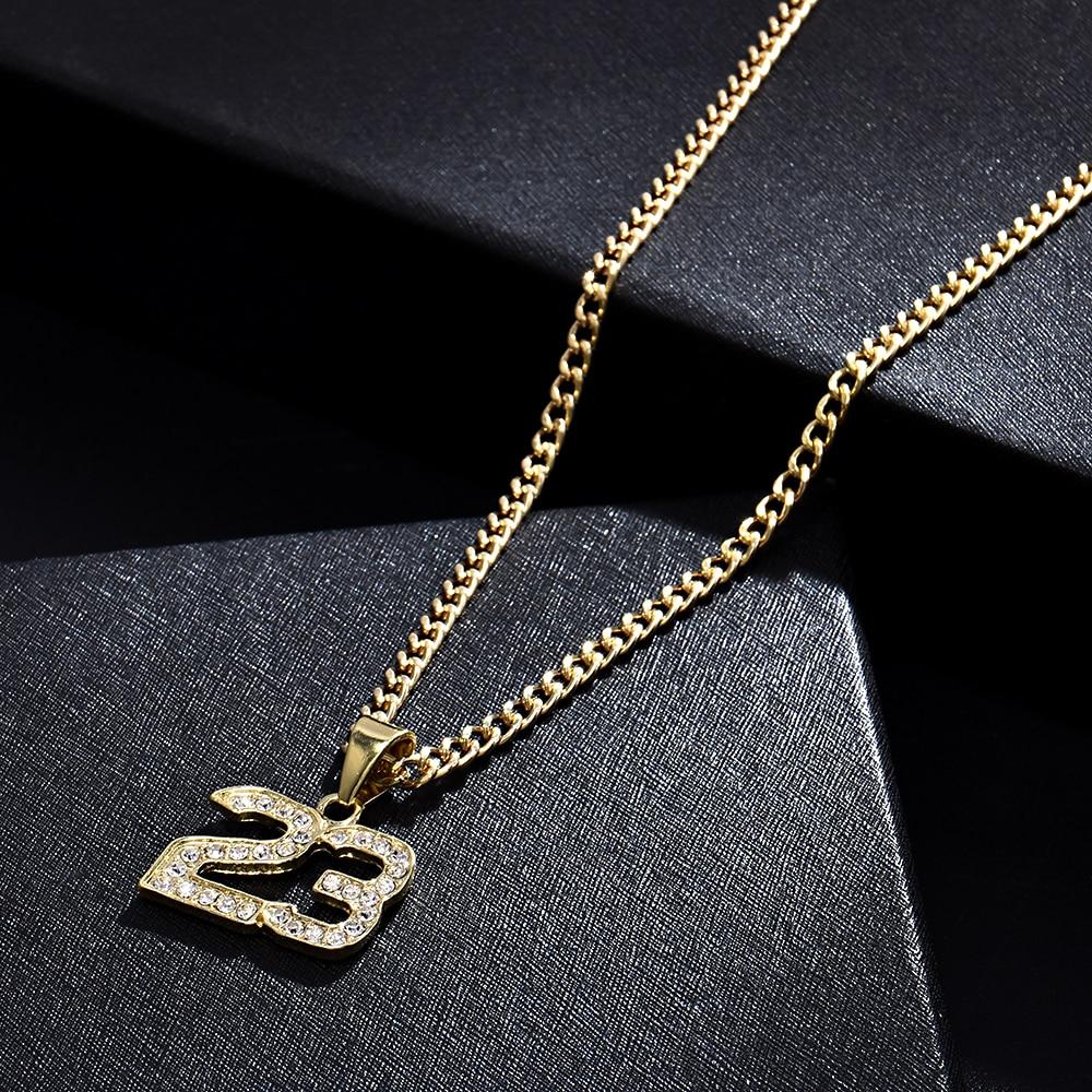 New Arrival Crystal Hip Hop Basketball Legend Number 23 Necklaces & Pendants...