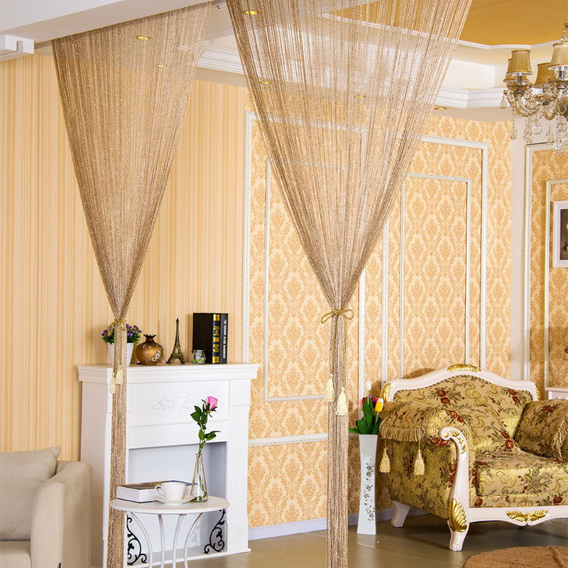 Line Screens Curtain Silver Ribbon Door String Curtain Thread Fringe Window Panel Room Divider Strip Window Room Divider