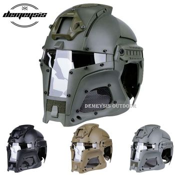 High Quality Full-covered Army Tactical Helmet Millitary Airsoft Paintball Helmet Safety CS Combat Shooting PC & Steel Mesh Lens