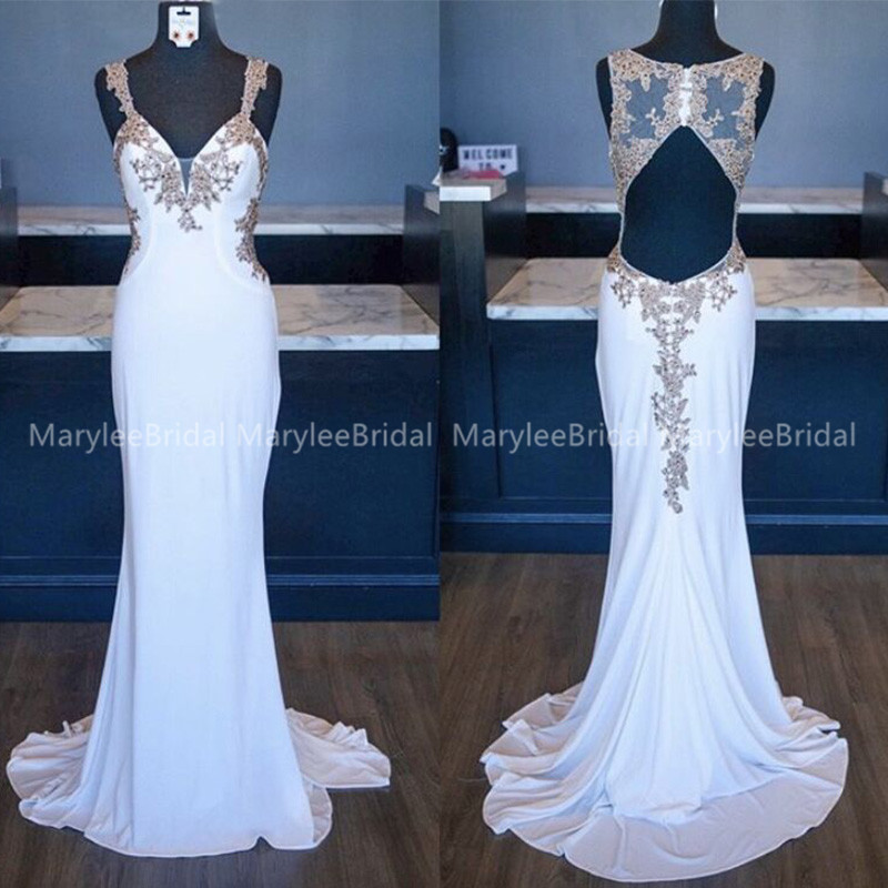 Spaghetti Straps Mermaid Evening Dresses With Gold Appliques Robe De Soiree Hollow Back Spandex Evening Gowns Sweep Train
