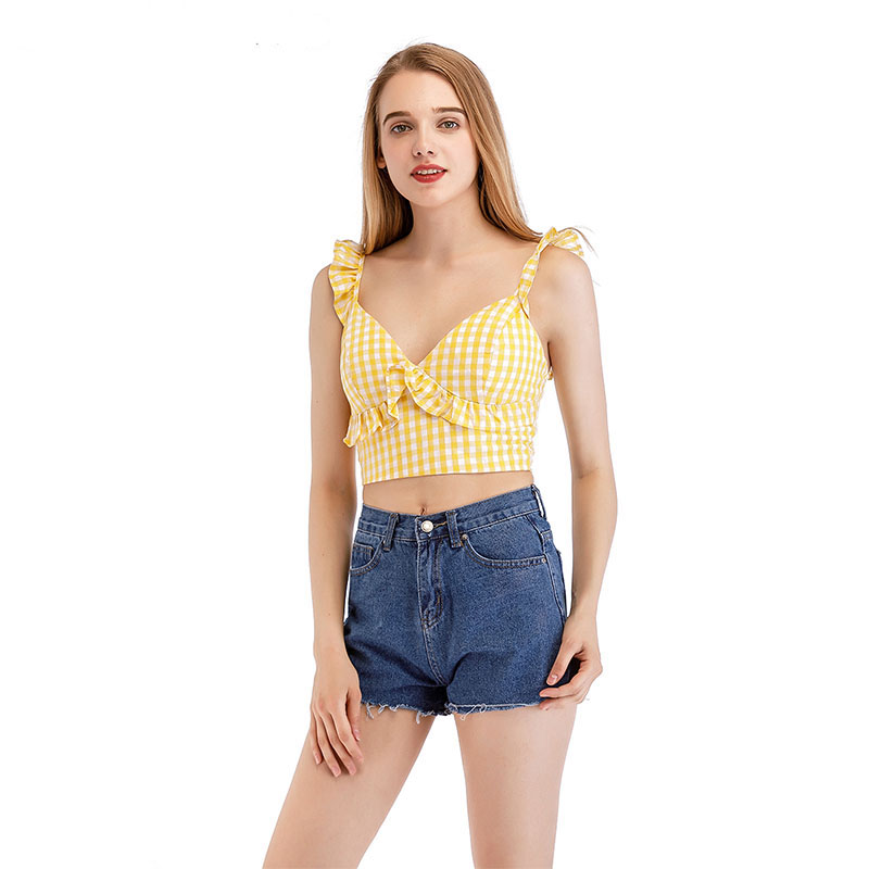 HELIAR Tank Tops Club Sexy Ruffles Crop Top Sexy Flounce Hem Camisole Ladies V-neck Solid Simple Camis 2020 Summer Women