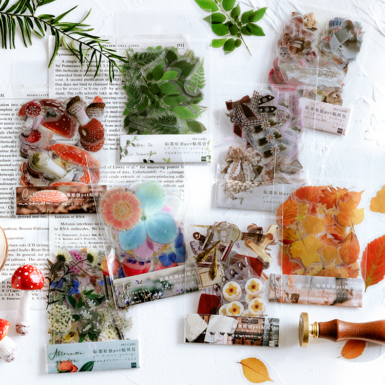 Jenny's Time Series Decorative Stickers Flower Mushroom Plant Butterfly Scrapbooking Stick Label Diary Stationery Album Stickers