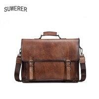 SUWERER 2020 New Genuine leather men's bag retro briefcase real cowhide leather men's business bag men's handbag