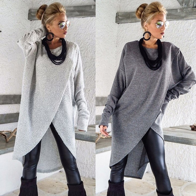 Women's Blouse Round Neck Long Sleeve Asymmetrical Hem Solid Long Tunic Fashion Tops Casual Women Coat Plus Size Blouse 2020 New