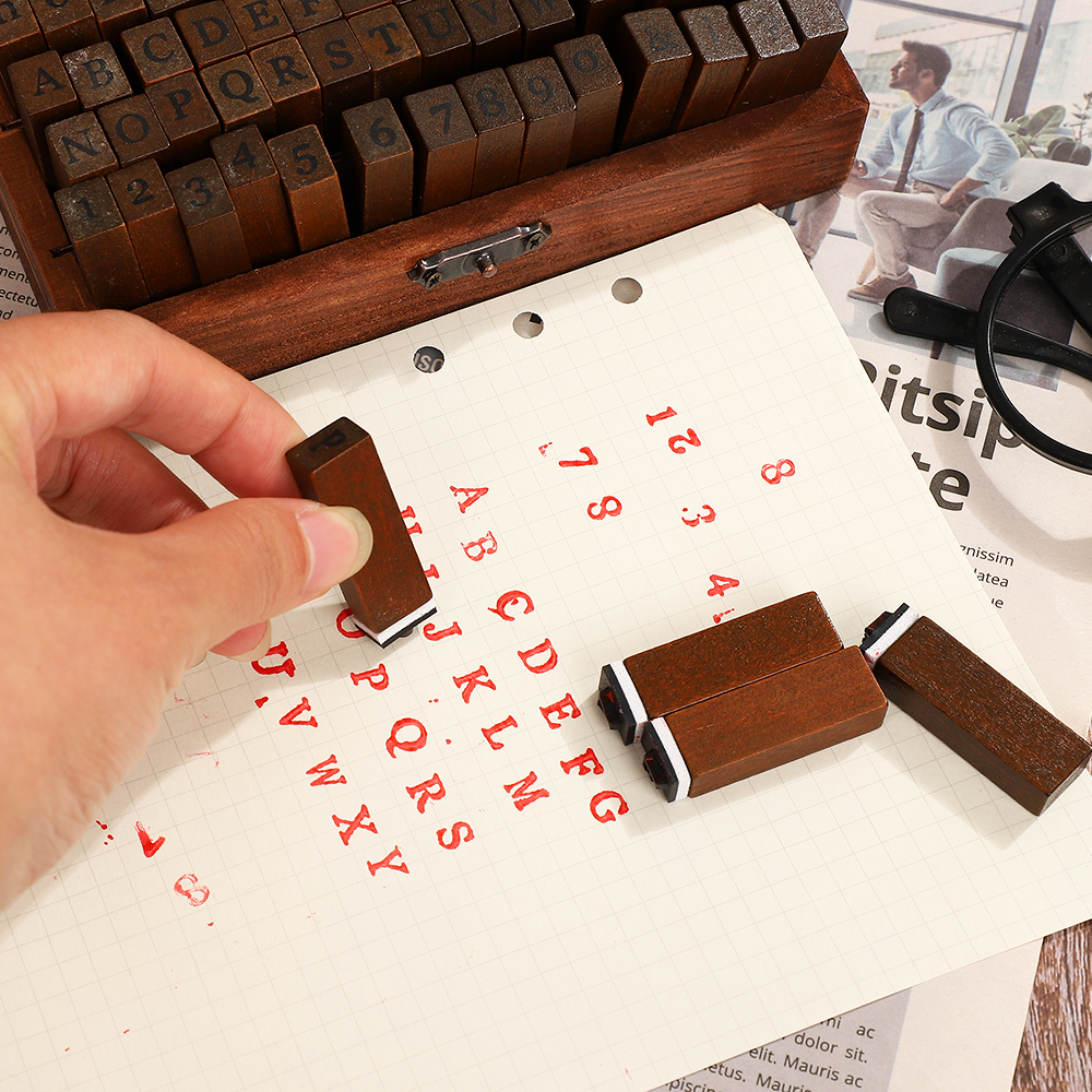 JIANWU Multiple Vintage Trend Series Wooden Journal Stamps Creative Letters And Numbers Seal DIY Student Stationery Supplies 5