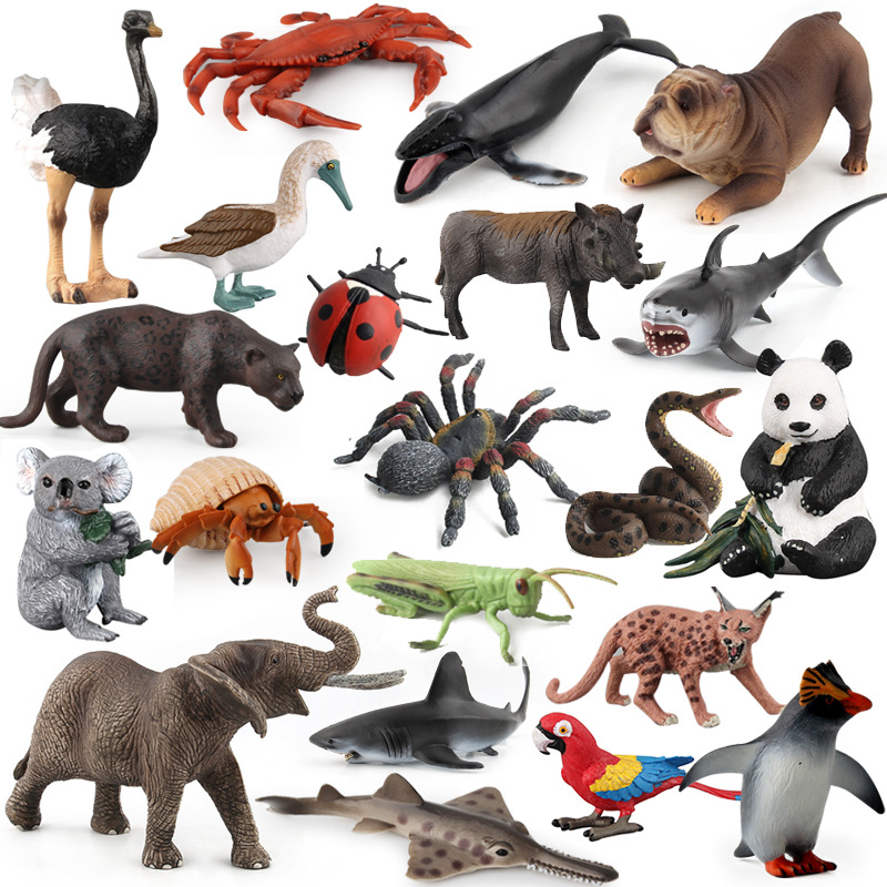 Action Figure Toy Mini Animal Model Figure Lovely Penguin Wildlife Sealife Insect Sets Toys Children Educantional Toy Home Decor