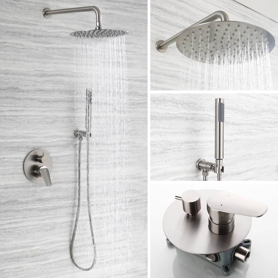 Concealed Wall-in Shower Faucet Combo 8-Inch Round Stainless Steel Top Spray Shower Nozzle Tap AL1031